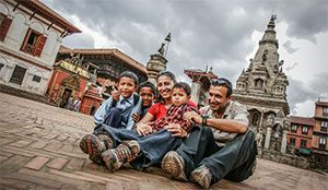 With Nepalese children at Kathmandu Valley