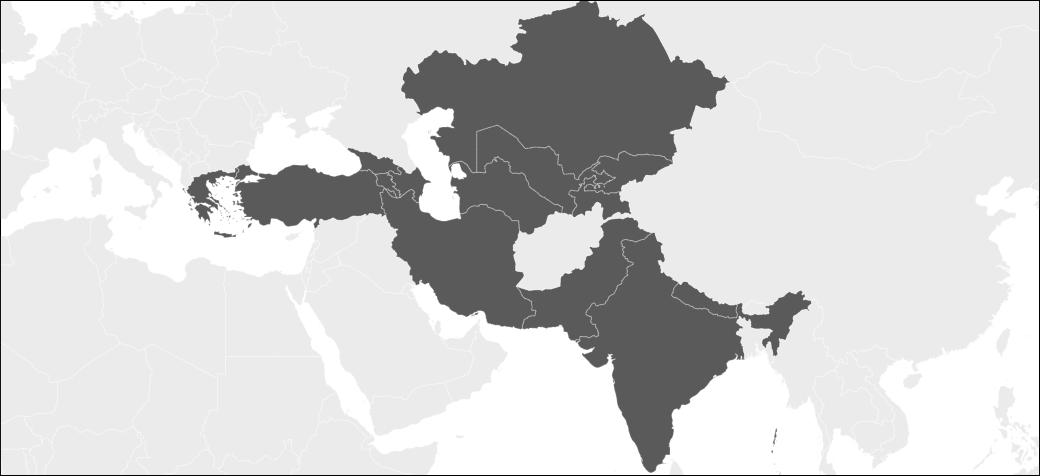 Χάρτης της Ασίας με τις χώρες που επισκέφτηκε ο Ηλίας Βροχίδης
