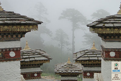Bhutan, chorten of Dochula pass in the fog