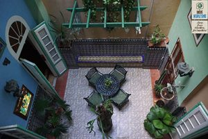 Cuba, the inner patio of a casa particular in Havana