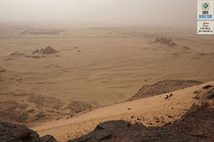 Sudan, view of the desert and pyramids from Jebel Barkal