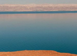 Dead Sea a salt lake, Israel, the West Bank and Jordan