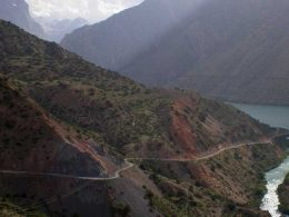 Iskanderkul Lake, a mountain lake in Sughd Province Tajikistan