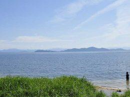 Lake Biwa, the largest freshwater lake, in northeast of Kyoto, Japan