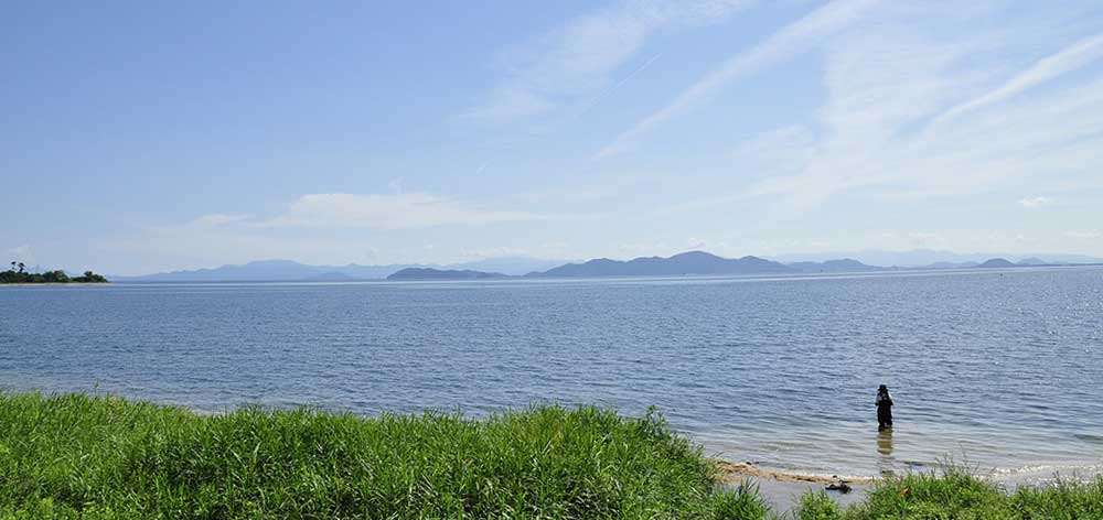 Lake Biwa, the largest freshwater lake, in northeast of Kyoto, Japan