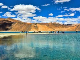 Pangong Tso, an endorheic lake in the Himalayas, India to China