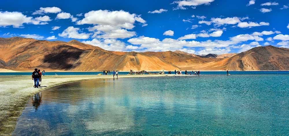 Pangong Tso, an endorheic lake in the Himalayas, India to China