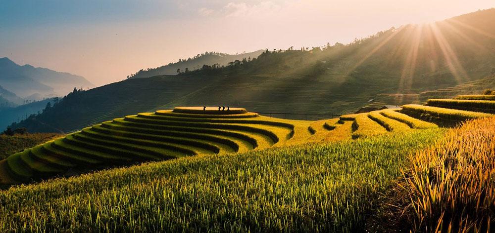 Tu Le Valley Vietnam, terraced rice fields, Khau Pha, Khau Than and Khau Song mountains