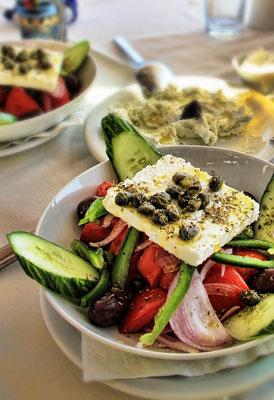 Greek salad or horiatiki salad is a salad in Greek cuisine