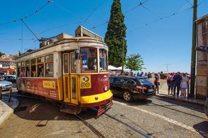 Lisbon Tram Blue Portugal